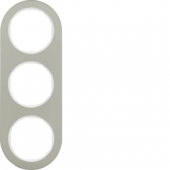 Рамка, R.classic, 3-местная, нержавеющая сталь цвет: полярная белизна 10132014