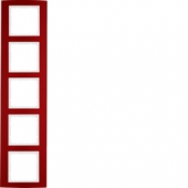 Рамкa, B.3, 5-местная, алюминий, цвет: красный/полярная белизна 10153022