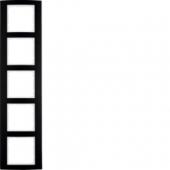 Рамкa, B.3, 5-местная, алюминий, цвет: черный/полярная белизна 10153025