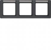 Рамка с полем для надписей, Q.1, 3-местная горизонтальная цвет: антрацитовый, с эффектом бархата 10236016