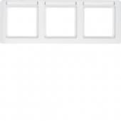 Рамка с полем для надписей, Q.1, 3-местная горизонтальная цвет: полярная белизна, с эффектом бархата 10236019