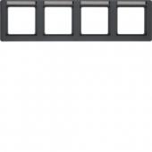 Рамка с полем для надписей, Q.1, 4-местная горизонтальная цвет: антрацитовый, с эффектом бархата 10246016