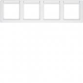 Рамка с полем для надписей, Q.1, 4-местная горизонтальная цвет: полярная белизна, с эффектом бархата 10246019