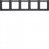 Рамка с полем для надписей, Q.1, 5-местная горизонтальная цвет: антрацитовый, с эффектом бархата 10256016