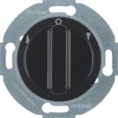 Жалюзийный поворотный выключатель с центральной панелью и вращающейся ручкой, Serie 1930/Glas/Palazzo, цвет: черный, глянцевый 381101