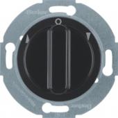 Жалюзийный поворотный выключатель с центральной панелью и вращающейся ручкой, Serie 1930/Glas/Palazzo, цвет: черный, глянцевый 381201