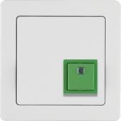Квитирующая нажимная кнопка с рамкой, Q.1, цвет: полярная белизна, с эффектом бархата 52016089