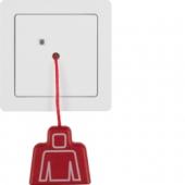 Кнопка со шнурковым приводом с рамкой, Q.1, цвет: полярная белизна, с эффектом бархата 52026089