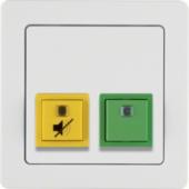 Кнопка присутствия/квитирования с рамкой, Q.1, цвет: полярная белизна, с эффектом бархата 52056089
