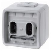 Двухклавишная групповая кнопка с шинным контролером, цвет: светло-серый, Aquatec IP44 75192100