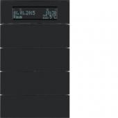 Клавишный сенсор B.IQ с регулятором температуры помещения, 4-канальный, стекло, цвет: черный 75664592