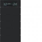 Клавишный сенсор B.IQ с регулятором температуры помещения, 5-канальный, стекло, цвет: черный 75665592