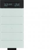 Инфракрасный клавишный сенсор B.IQ с регулятором температуры помещения, 5-канальный, стекло, цвет: полярная белизна 75665690