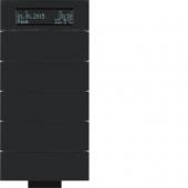 Инфракрасный клавишный сенсор B.IQ с регулятором температуры помещения, 5-канальный, стекло, цвет: черный 75665692