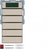 Клавишный сенсор с шинным соединителем, RTR, с дисплеем и полем для надписей, 5-канальный, Q.1/Q.3, цвет: антрацитовый, с эффектом бархата 75665726