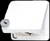 Крышка ударопрочная откидная для штекерных розеток с замком, белая CD590BFSLKLWW