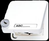Крышка ударопрочная откидная для штекерных розеток с полем для надписи и замком, белая CD590BFSLNAKLWW