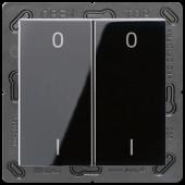 EnOceanвыключатель двухклавишный в сборе, с символами, черный ENOA595-01SW