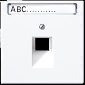 Крышка для одинарной телефонной и компьютерной розетки UAE с полем для надписи, белая LS969-1NAUAWW