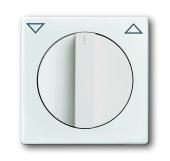 Плата центральная с поворотной ручкой, с маркировкой, для механизма выключателя жалюзи 2712/2713 U и 2722/2723 U, серия solo/future, цвет davos/альпийский белый 1740-84