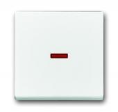 Клавиша для 1-клавишных выключателей/переключателей/кнопок, красная линза, Impressivo, белый 1789-84