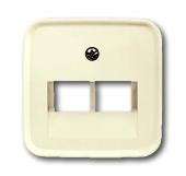 Плата центральная (накладка) для 2-постовой телекоммуникационной розетки 0214, 0215, 0217, 0218, с полем для надписи, серия Busch-Duro 2000 SI, цвет слоновая кость 1803-02-212