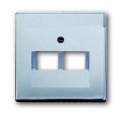 Плата центральная (накладка) для 2-постовой телекоммуникационной розетки 0214, 0215, 0217, 0218, с полем для надписи, серия solo/future, цвет серебристо-алюминиевый 1803-02-83