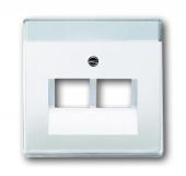 Плата центральная (накладка) для 2-постовой телекоммуникационной розетки 0214, 0215, 0217, 0218, с полем для надписи, серия solo/future, цвет davos/альпийский белый 1803-02-84