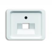 Плата центральная (накладка) для 1-постовой телекоммуникационной розетки 0213, 0216, с полем для надписи, серия alpha nea, цвет белы глянцевый 1803-24G