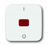 """Клавиша для механизма 1-клавишного выключателя/переключателя/кнопки с красной линзой и маркировкой """"I/O"""", серия Reflex SI, цвет альпийский белый 2508-214"""