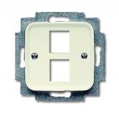 Плата центральная (накладка) для 2-х разъёмов Modular Jack (артикулы 0210, 0211 и 0219), серия Busch-Duro 2000 SI, цвет слоновая кость 2561-02-212