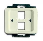 Плата центральная (накладка) для 2-х разъёмов Modular Jack (артикулы 0210, 0211 и 0219), серия alpha nea, цвет слоновая кость 2561-02-22G
