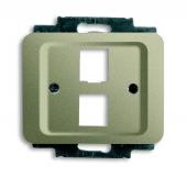 Плата центральная (накладка) для 2-х разъёмов Modular Jack (артикулы 0210, 0211 и 0219), серия alpha exclusive, цвет палладий 2561-02-260