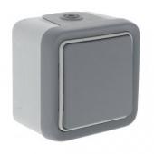 PLEXO Переключатель одноклавишный 10А наружный серый IP55 ,69711