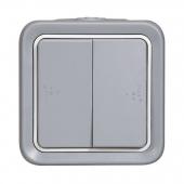 PLEXO Переключатель двухклавишный 10А серый IP55 ,69715