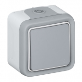 Plexo Кнопка 10A НО с зажимом серая