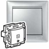 VALENA Кнопка 12В с подсветкой с символом Звонок алюминий
