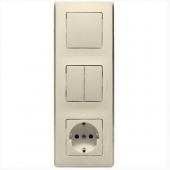 Cariva Блок: выключатель одноклавишный+выключатель двухклавишный+розетка с заземлением бежевый