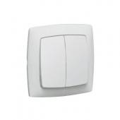 SUNO Выключатель двухклавишный в рамку белый