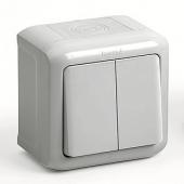 Quteo Выключатель двухклавишный наружный IP44 серый 10А